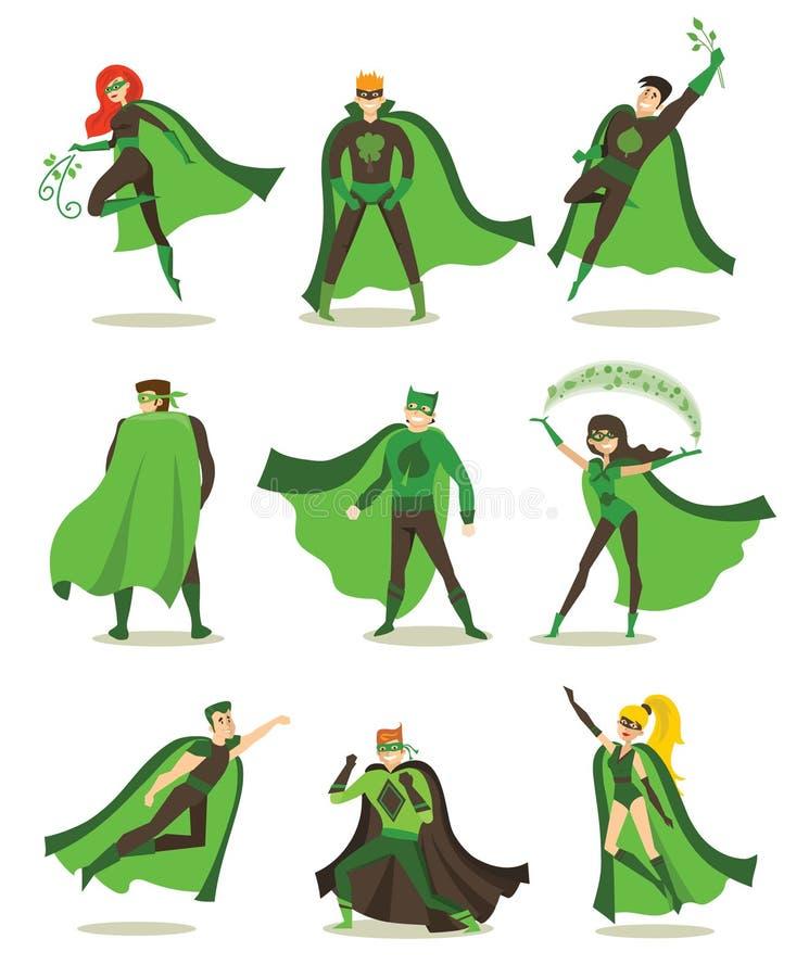 Kvinnliga och manliga ecosuperheros stock illustrationer