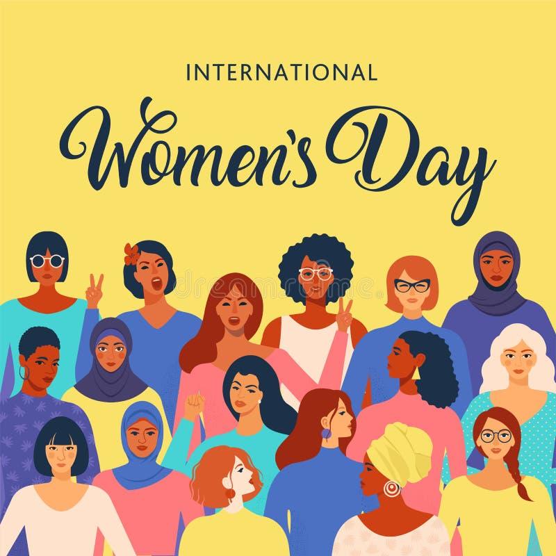 Kvinnliga olika framsidor av den olika etnicitetaffischen Modell för kvinnabemyndiganderörelse Internationella kvinnors dagdiagra vektor illustrationer