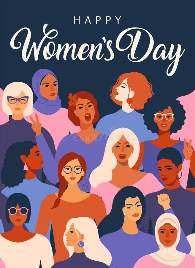 Kvinnliga olika framsidor av den olika etnicitetaffischen Modell för kvinnabemyndiganderörelse Internationella kvinnors dagdiagra stock illustrationer