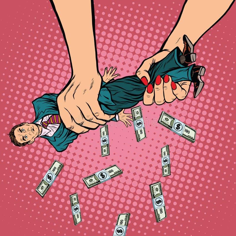 Kvinnliga pengar för handåtstramningmän stock illustrationer