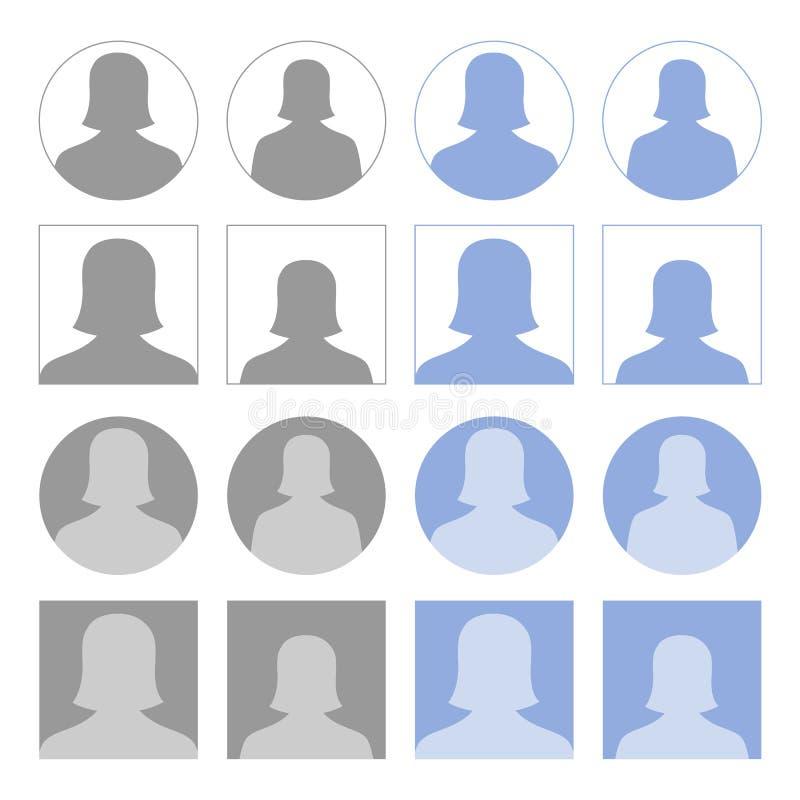 Kvinnliga profilsymboler royaltyfri illustrationer