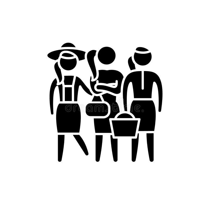 Kvinnliga roller svärtar symbolen, vektortecken på isolerad bakgrund Kvinnligt rollbegreppssymbol, illustration vektor illustrationer