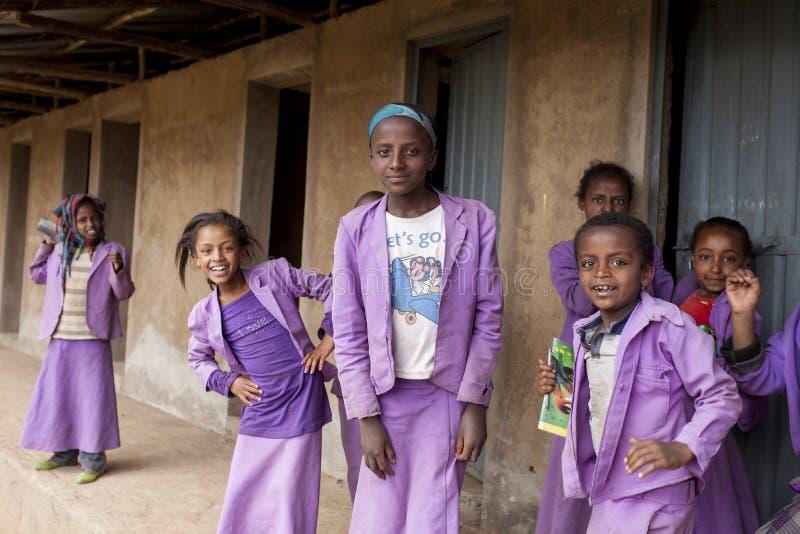 Kvinnliga studenter i Etiopien arkivbilder