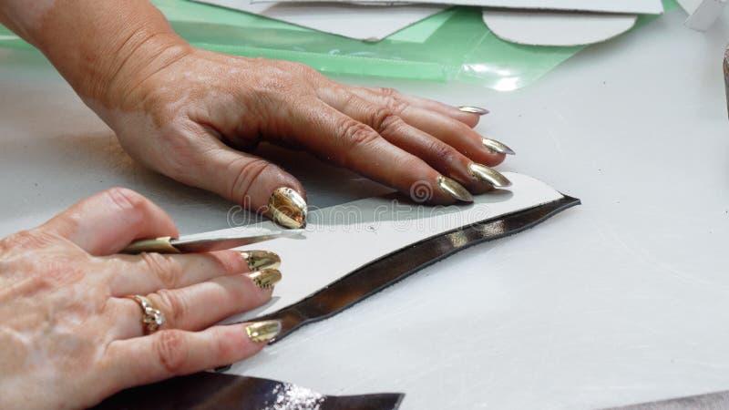 Kvinnliga stycken för skomakareklippläder på hennes seminarium royaltyfri fotografi