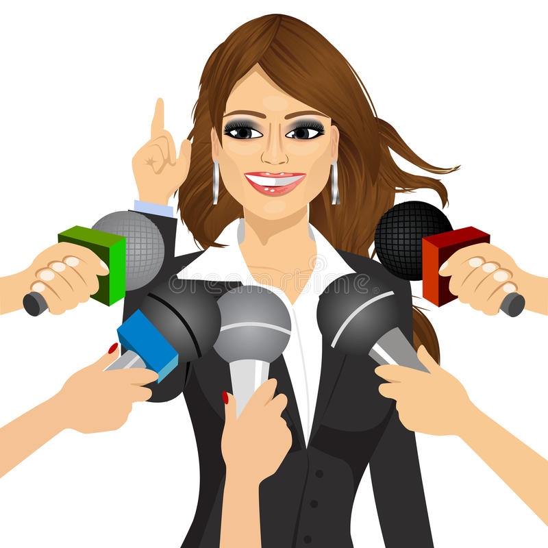 Kvinnliga svarande pressfrågor för politiker eller för affärskvinna stock illustrationer