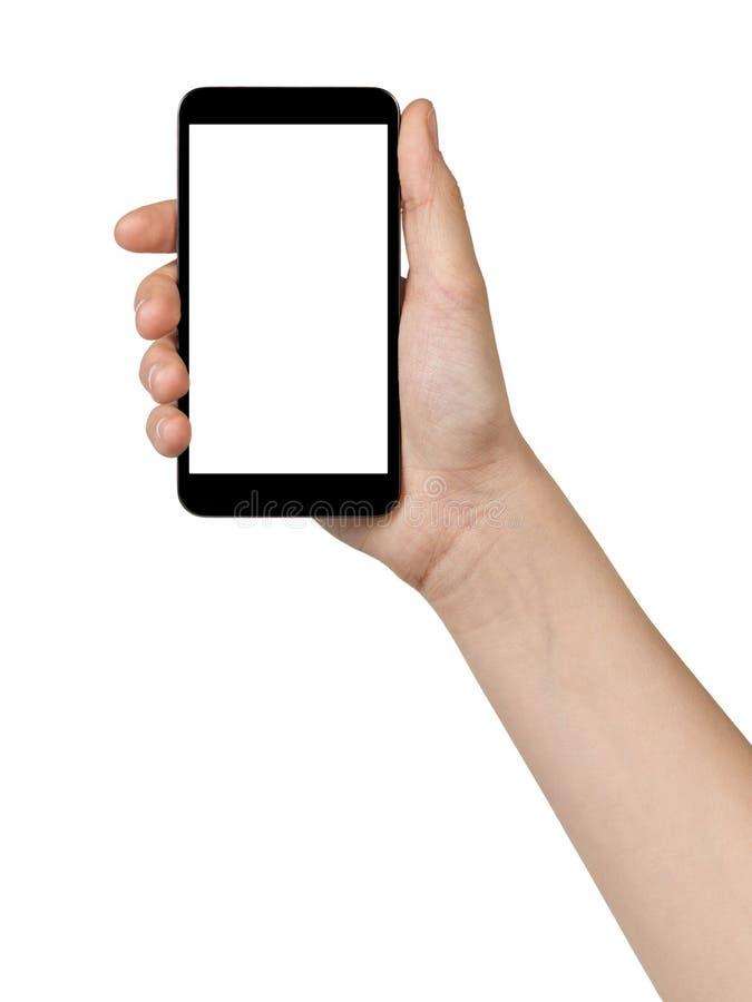 Kvinnliga teen räcker den hållande handlagapparaten arkivbild