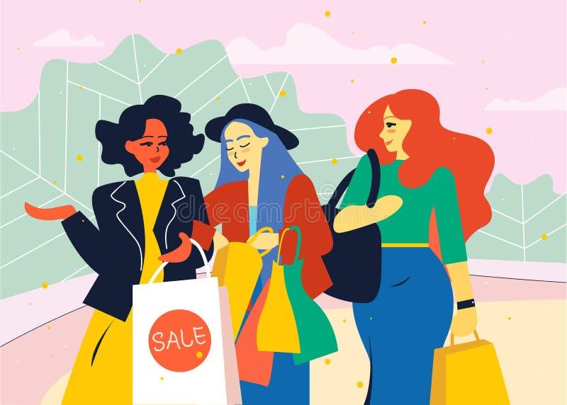 Kvinnliga vänner går från lagret med shoppingpåsar stock illustrationer