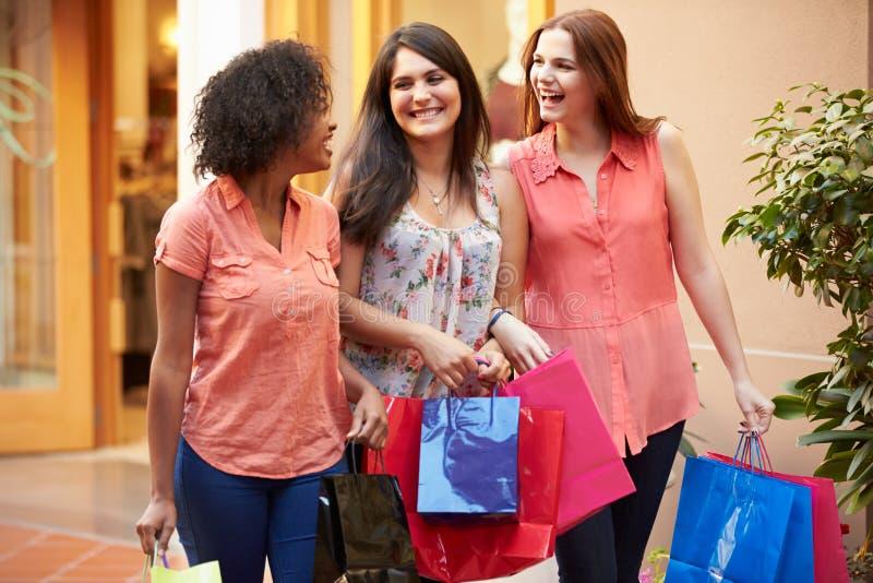Kvinnliga vänner som går till och med galleria med shoppingpåsar royaltyfria foton