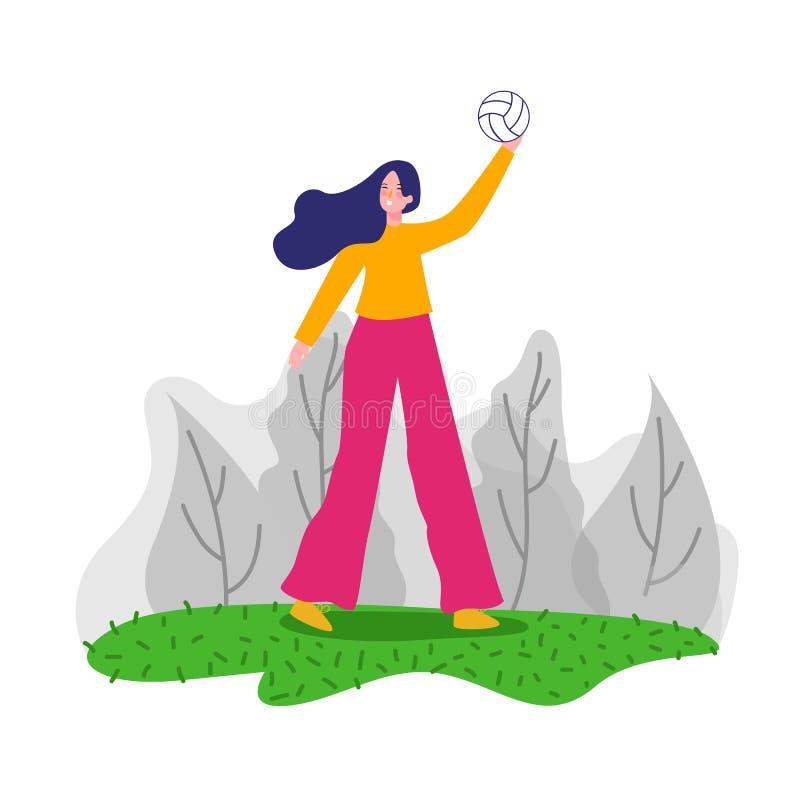 Kvinnliga volleybollspelare för yrkesmässig kvinna i handlinginnehavboll vektor vektor illustrationer