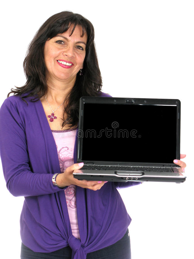 kvinnligbärbar dator arkivbilder