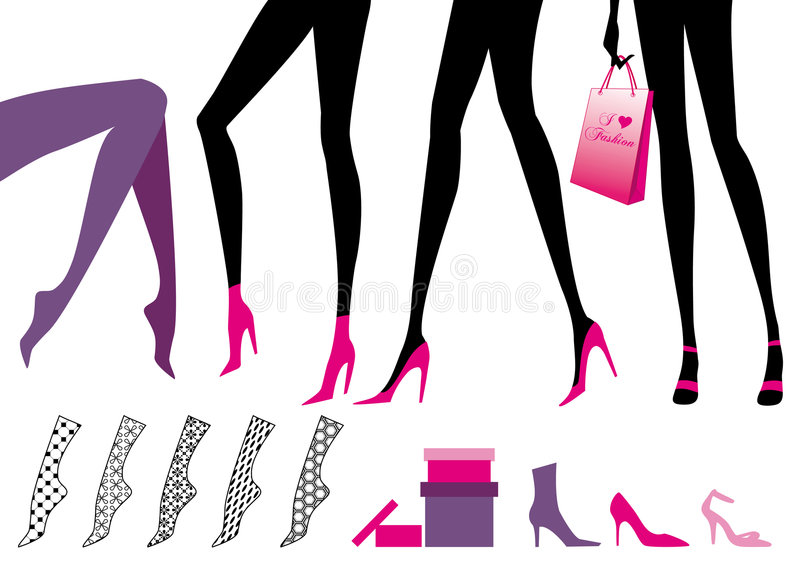 kvinnligben royaltyfri illustrationer