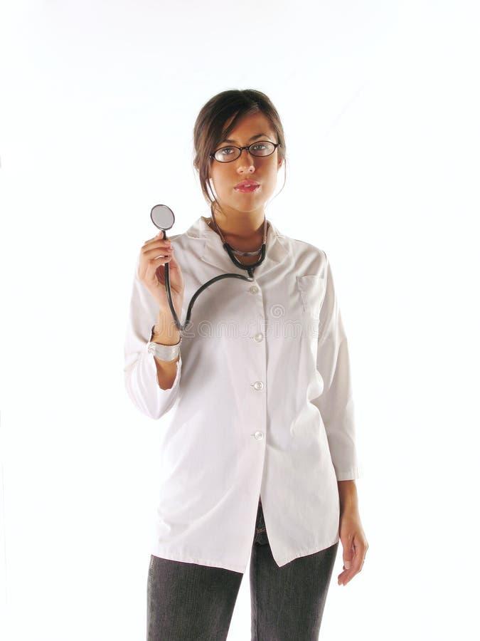 Kvinnligdoktor med stetoskopet arkivfoto