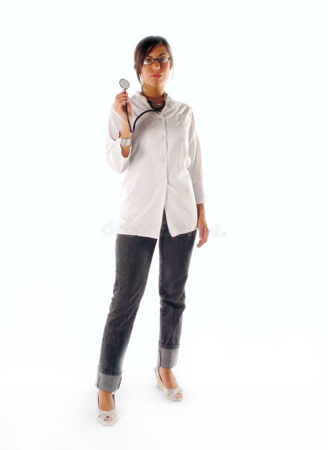 Kvinnligdoktor med stetoskopet royaltyfri fotografi