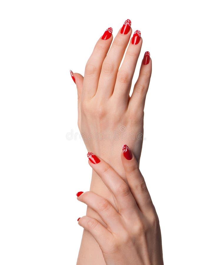 kvinnligfransmannen hands manicuren arkivfoton