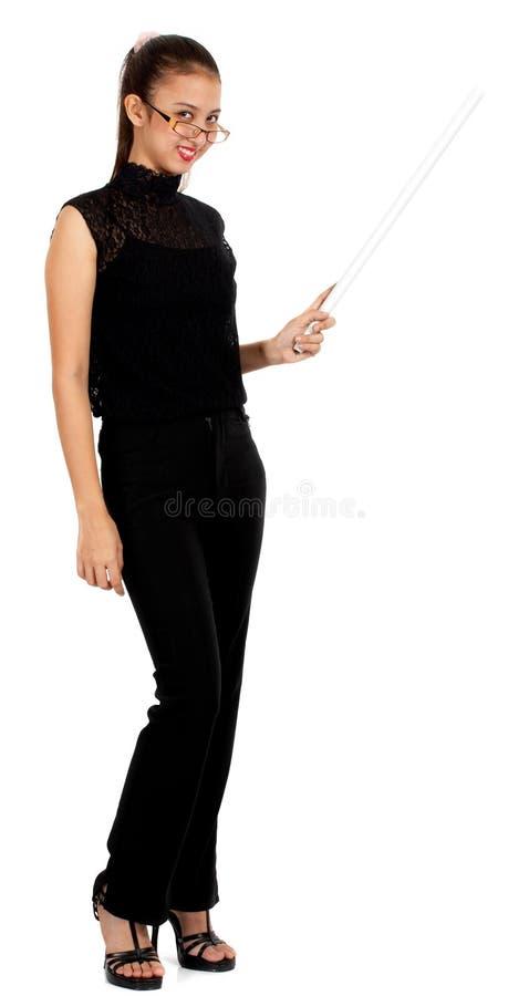 kvinnligholdinginstruktör royaltyfria foton