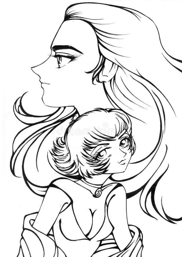 kvinnligillustration vektor illustrationer