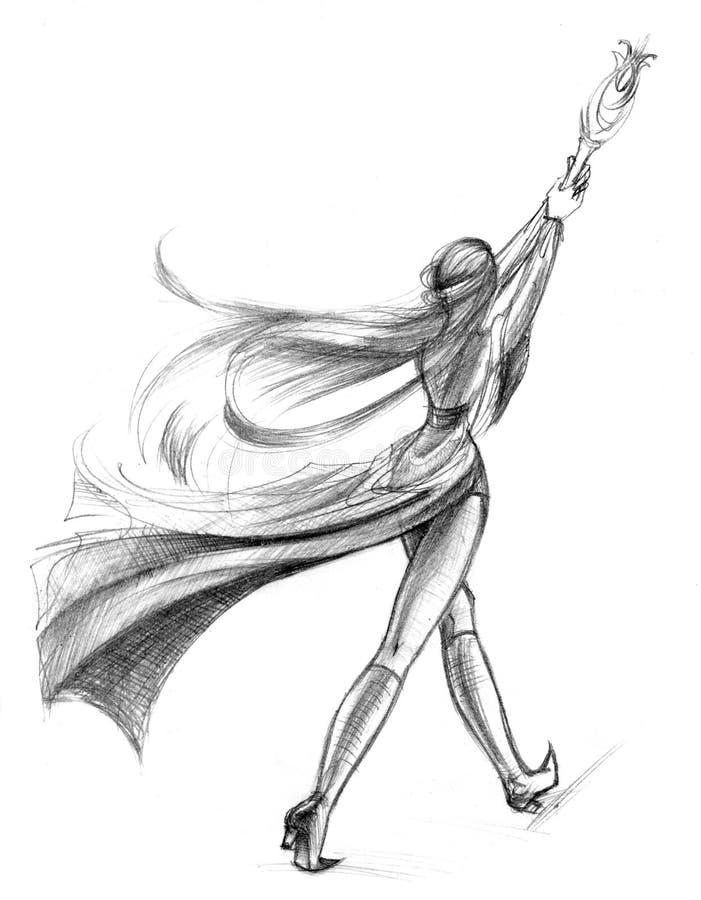 kvinnligillustrationmage royaltyfri illustrationer