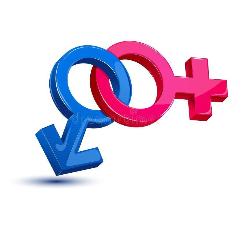 kvinnligmanligsexsymbol vektor illustrationer
