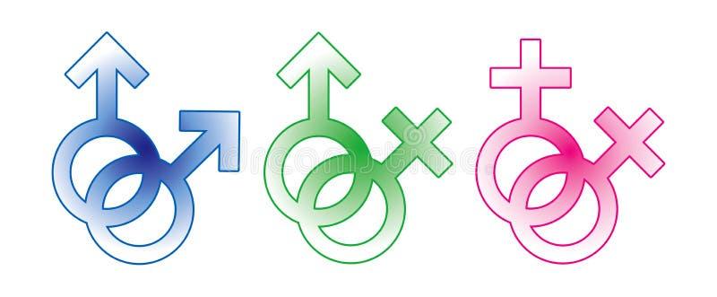 kvinnligmanligtecken vektor illustrationer