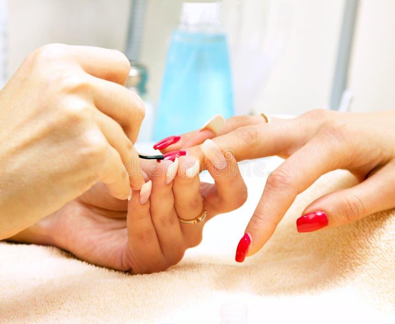 kvinnlign hands manicurebehandling royaltyfri bild