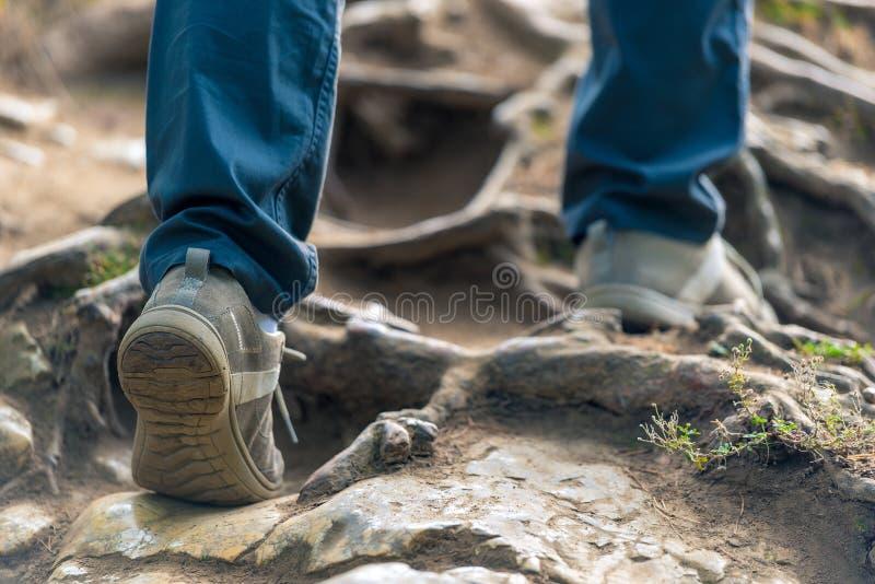 Kvinnlign lägger benen på ryggen i en vandring till och med bergen, startar närbild i t arkivbilder