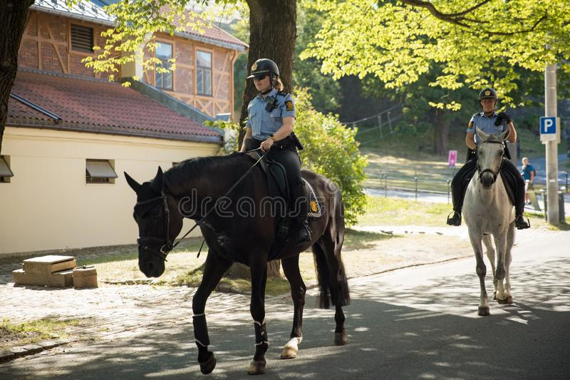 Kvinnlign monterade poliser som kontrollerar beställningen royaltyfria foton