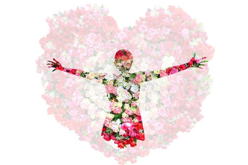 Kvinnlign och rosor blommar i dubbel exponering som isoleras på rosbakgrund fotografering för bildbyråer