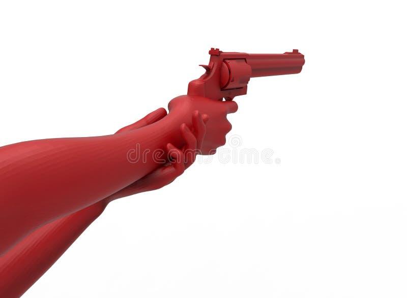 Kvinnlign räcker att rymma ett vapen stock illustrationer