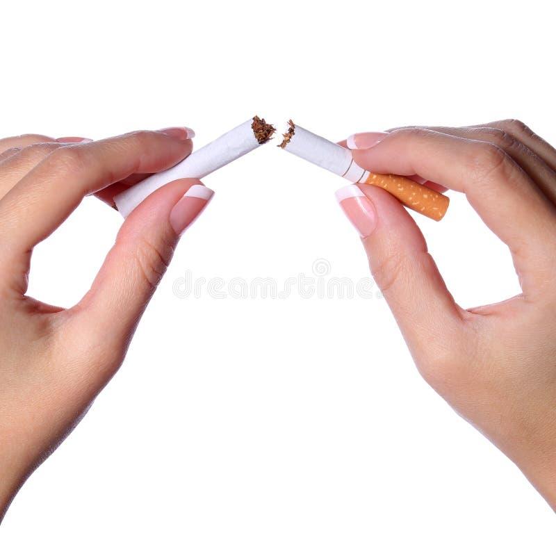 Kvinnlign räcker avbrott av en cigarett itu som isoleras på vit. Stopp arkivfoto