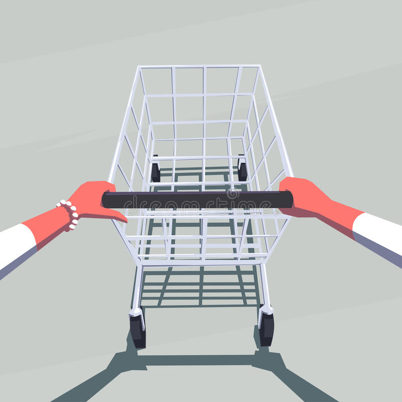 Kvinnlign räcker den driftiga tomma shoppingvagnen royaltyfri illustrationer