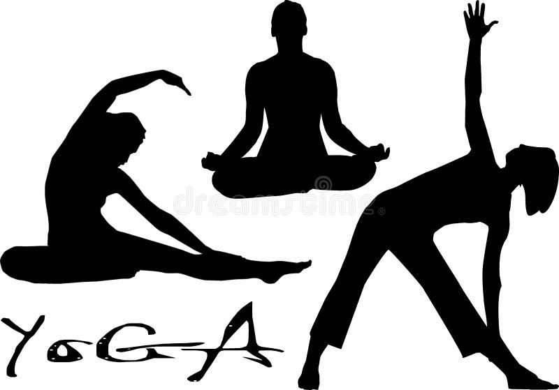 kvinnlign sträcker yoga tre stock illustrationer