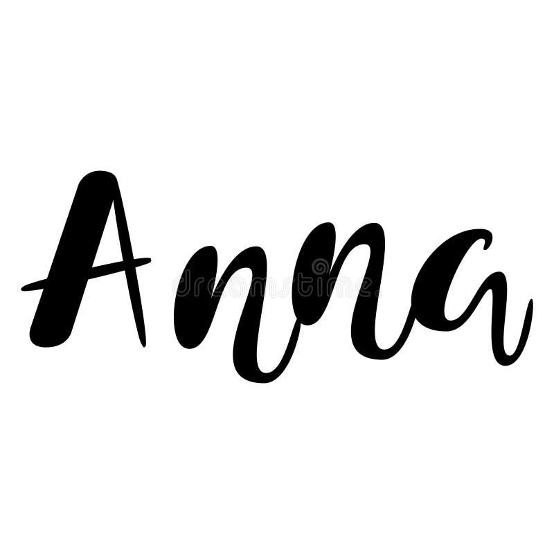 Kvinnlignamn - Anna Märka design Handskriven typografi Ve royaltyfri illustrationer