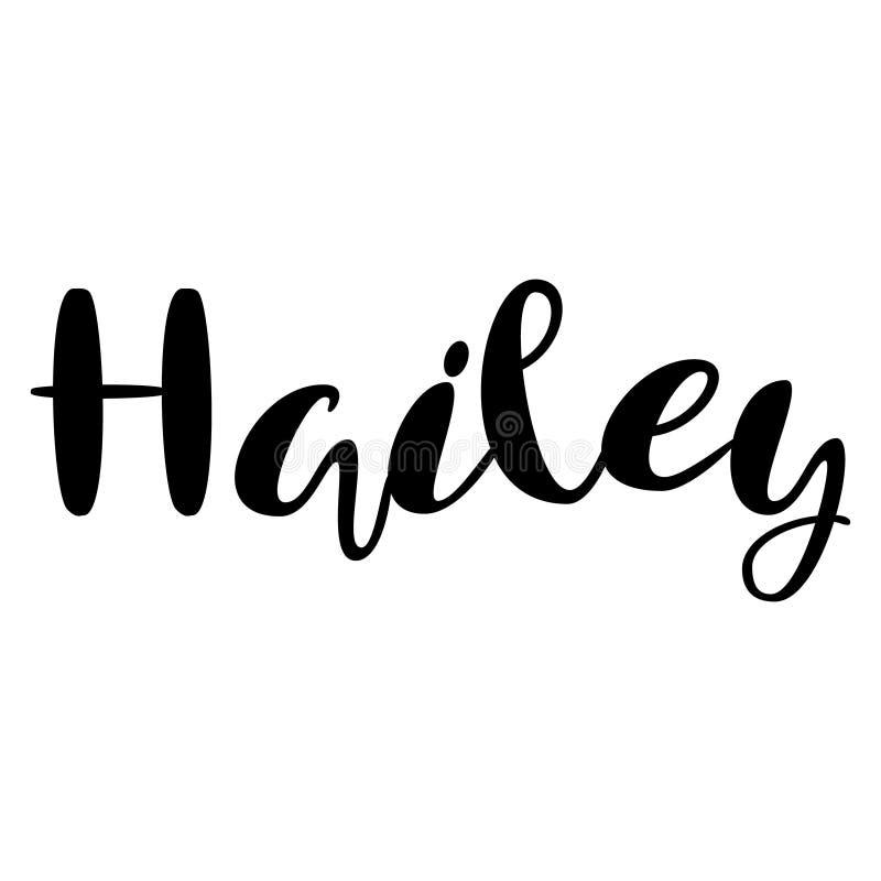 Kvinnlignamn - Hailey Märka design Handskriven typografi stock illustrationer