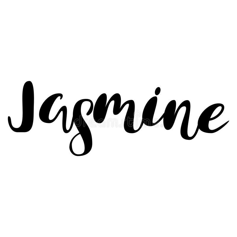 Kvinnlignamn - jasmin Märka design Handskriven typografi vektor illustrationer