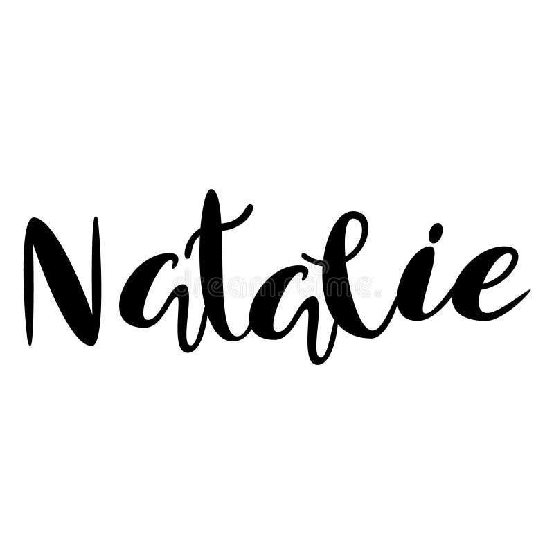 Kvinnlignamn - Natalie Märka design Handskriven typografi vektor illustrationer