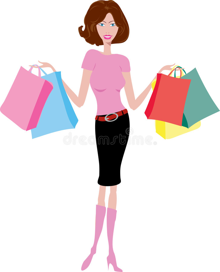 kvinnligshoppare stock illustrationer