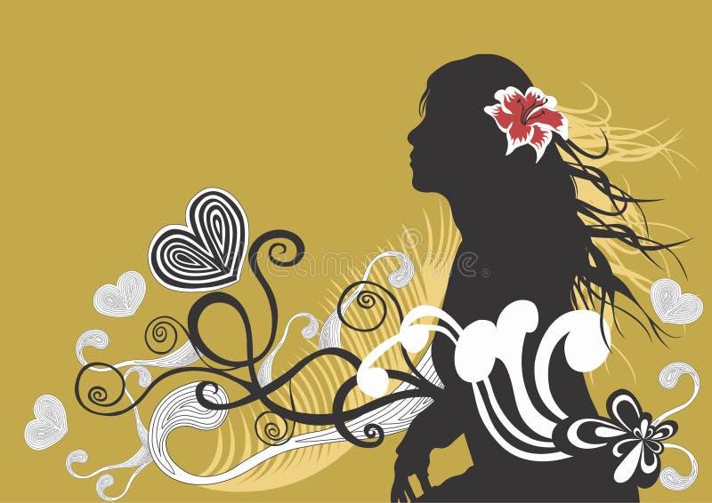 kvinnligsilhouette stock illustrationer