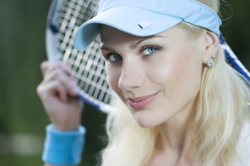 kvinnligspelaretennis royaltyfria foton