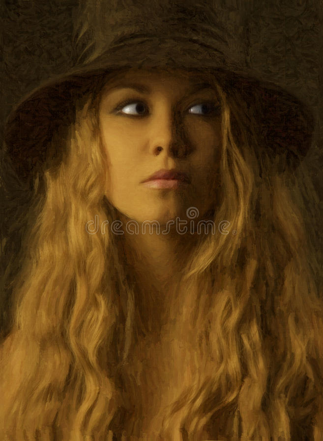 Kvinnligstående i oljor arkivbild