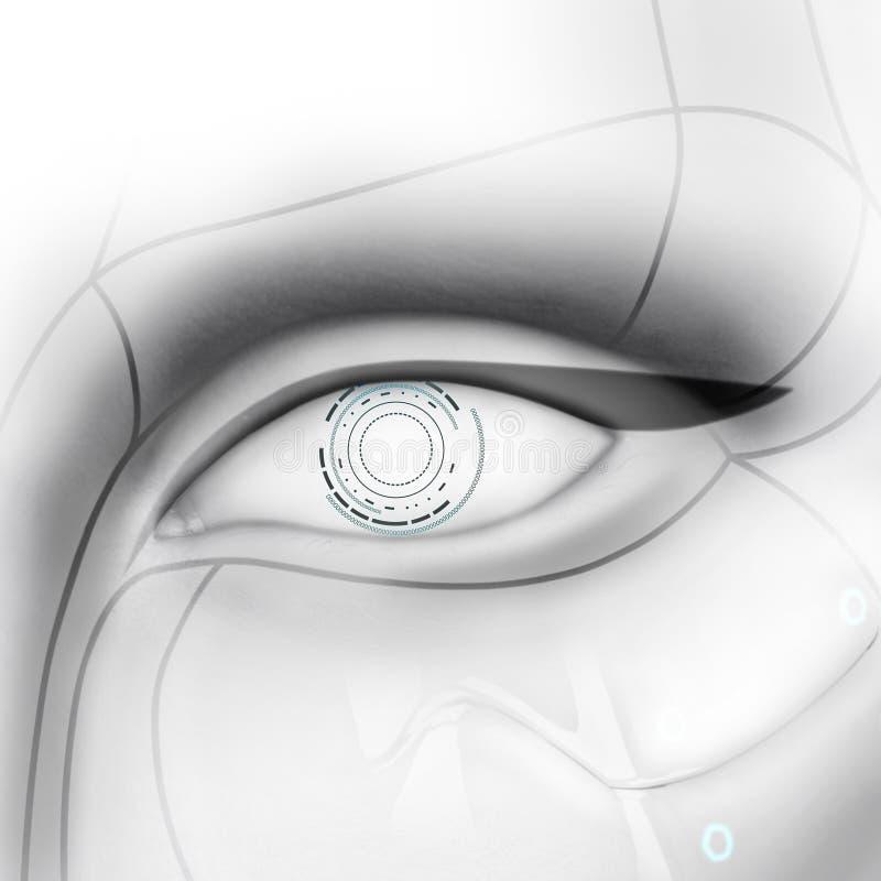 Kvinnligt öga för härlig cyborg royaltyfri fotografi