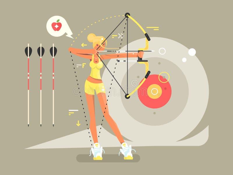 Kvinnligt bågskytttecken royaltyfri illustrationer