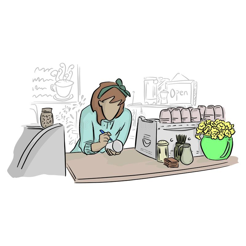Kvinnligt baristahandstilnamn på exponeringsglas i coffee shopvektorillustration med svarta linjer som isoleras på vit bakgrund royaltyfri illustrationer