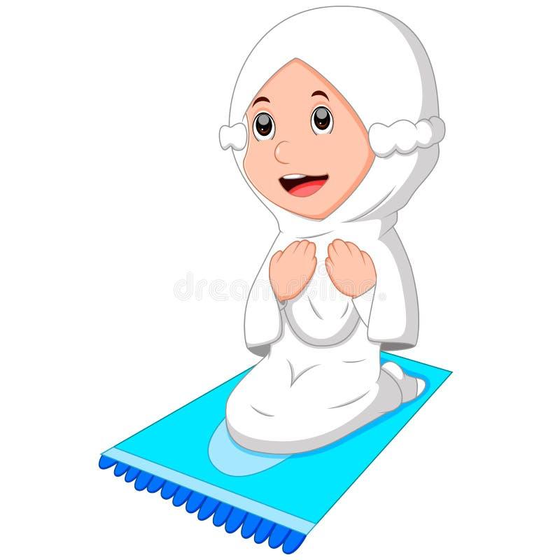 Kvinnligt be för muslim stock illustrationer