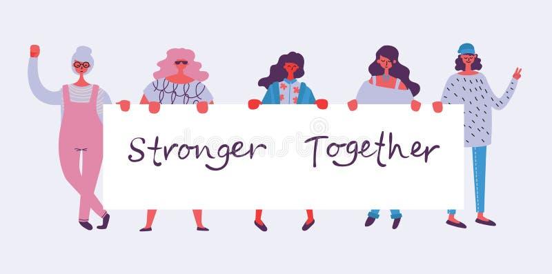 Kvinnligt begrepps- och kvinnabemyndigande planlägger för baner royaltyfri illustrationer