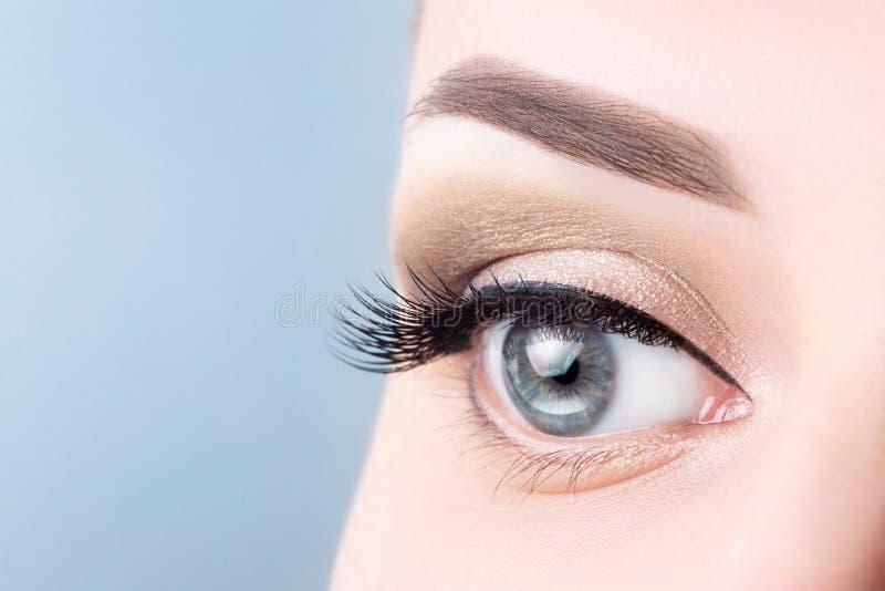 Kvinnligt blått öga med långa ögonfrans, härlig makeupnärbild Ögonfransförlängningar, lamination, microblading ögonbryntatuering arkivfoto