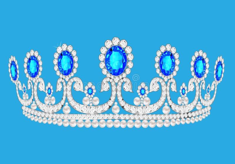 Kvinnligt bröllop för den härliga diademen på vänder vi blå bakgrund vektor illustrationer