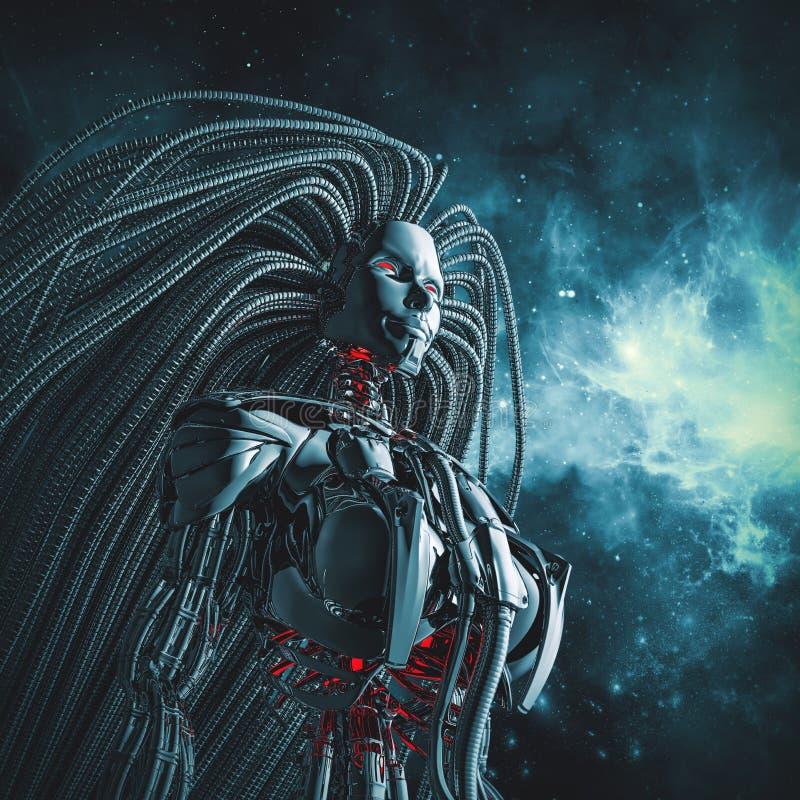 Kvinnligt cyborgutrymme vektor illustrationer