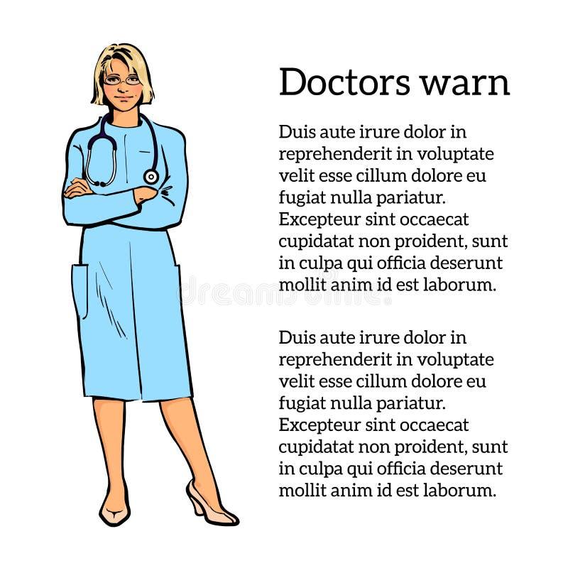 Kvinnligt doktorsanseende med hans korsade armar vektor illustrationer