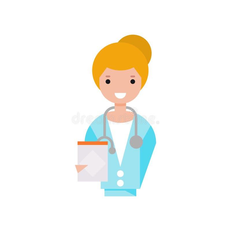 Kvinnligt doktorstecken, flicka i det vita laget med för skrivplattavektor för stetoskop den hållande illustrationen på en vit ba vektor illustrationer