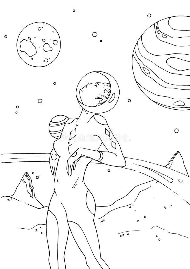 Kvinnligt för utrymmedräkt för kosmonaut eller för astronaut iklätt anseende på yttersida av den öde planeten och att se upp flic stock illustrationer